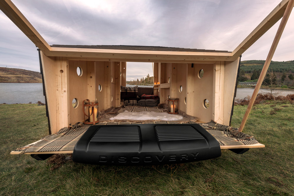 Schuil hut land rover